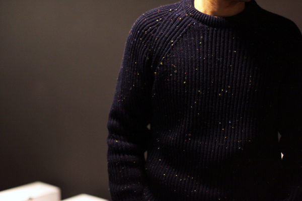 a ribbed sweater