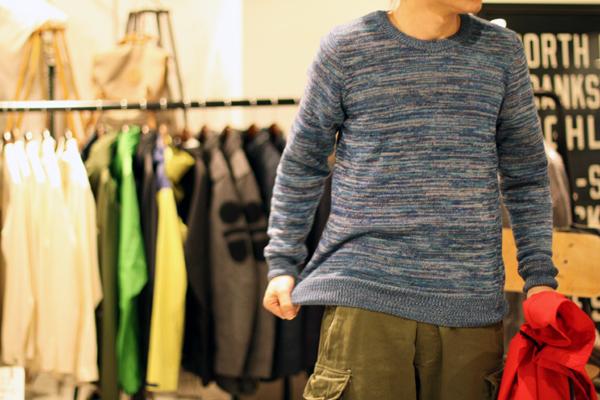 Melange blue cotton knit
