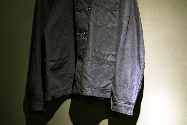 French work indigo linen double-breasted Jacket